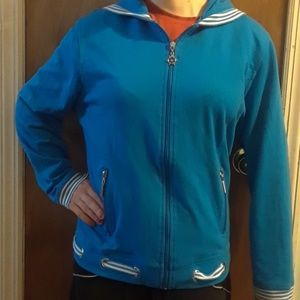 Adorable Blue Nautical Striped Jacket. Size L